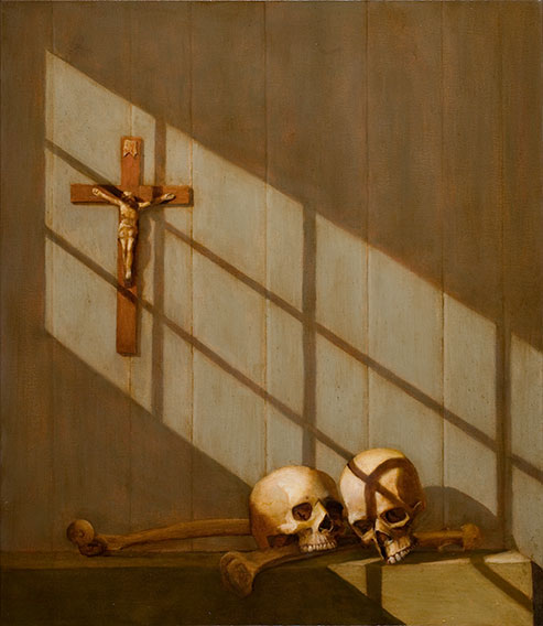 Crucifix, Sunlight, Bones, Skulls Still Life Painting
