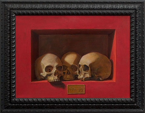 Pop Surrealism Skull Painting by Los Angeles Artist Chris Peters