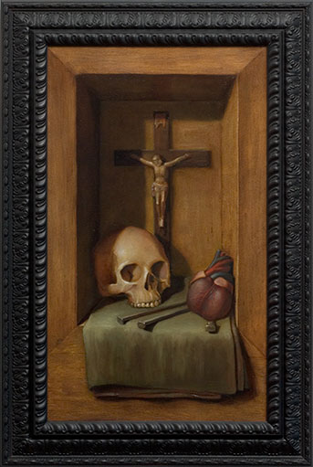 Pop Surrealism Oil Painting with Catholic Symbols by Los Angeles Artist Chris Peters
