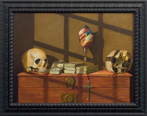 Chris Peters | Love's Memorial | Skull Still Life Painting