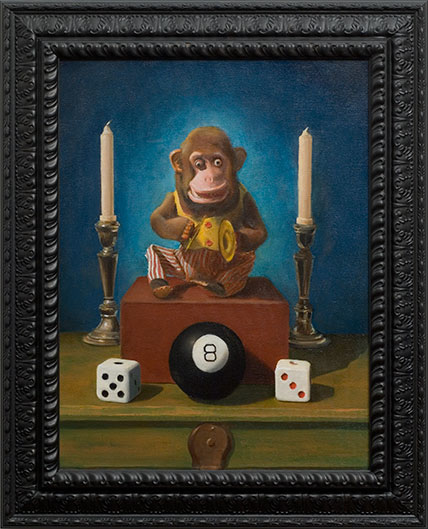 Pop Surealism Monkey Dice Oil Painting by Los Angeles Artist Chris Peters