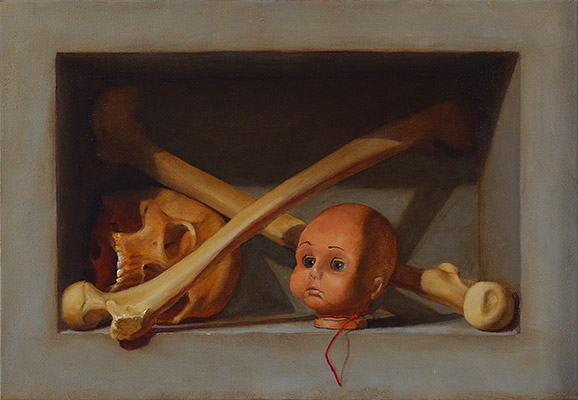 Skull, Bones, Doll Head Still Life Painting